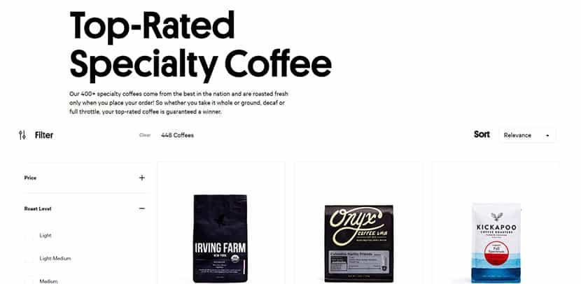 trade coffee screenshot